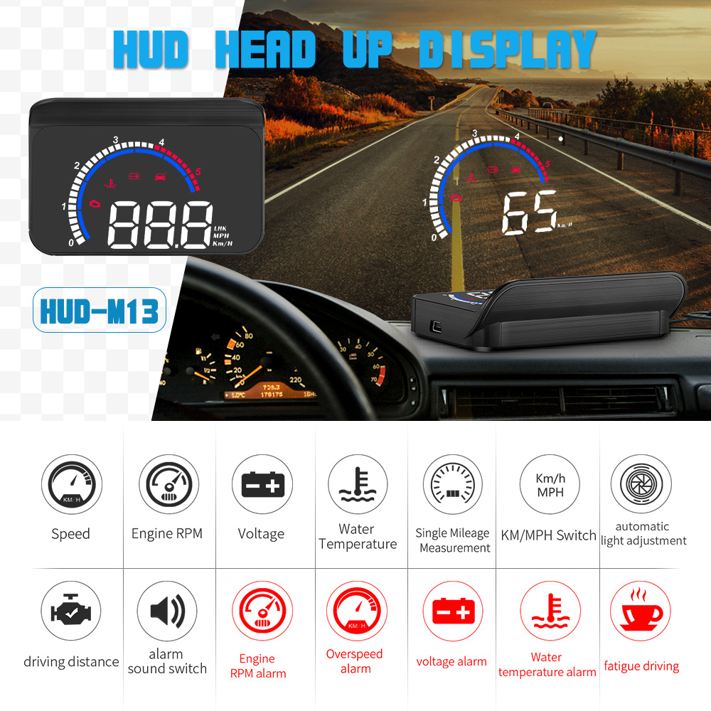 GEYIREN Car hud M13 obd hud display windshield projector temperature hud display car car electronics Overspeed Warning System