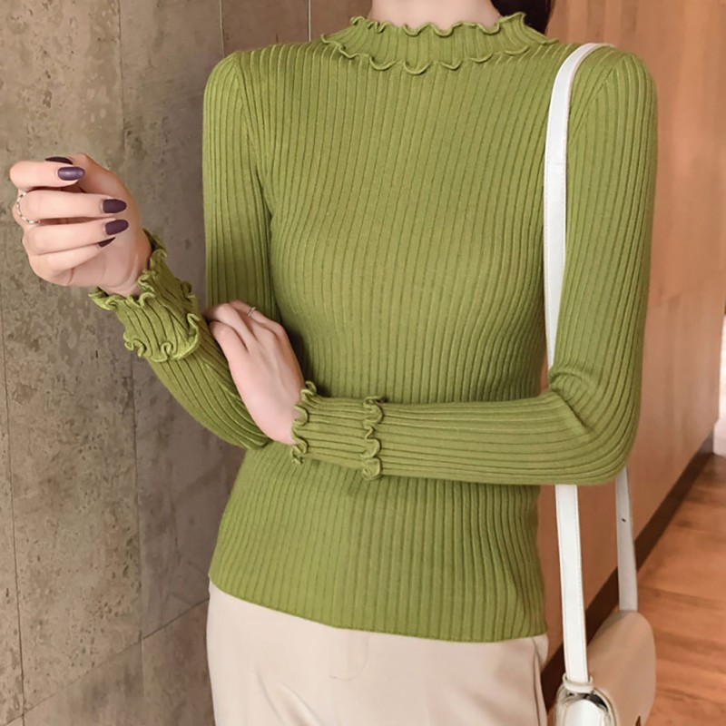 Autumn Winter Turtleneck Women Sweater Solid Color Slim Long-Sleeved Half High Collar Slim Bottom Knit Sweater.w