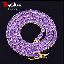 紫色ジルコン 1 行テニスチェーンネックレスヒップホップジュエリー銅素材男性の女性ネックレスリンク 4 ミリメートル