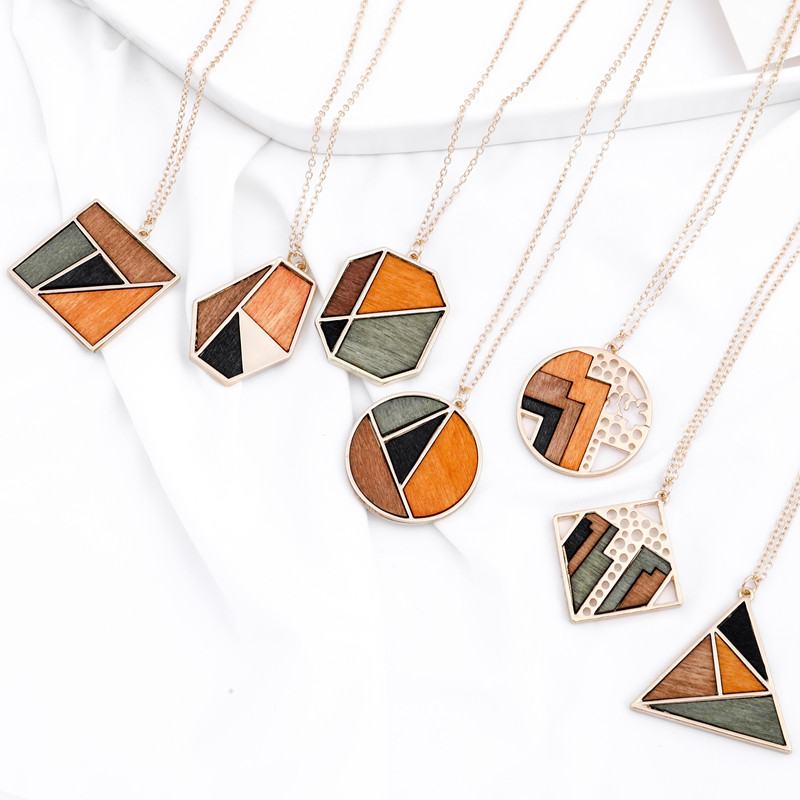 Ahmed Original Creative Minimalist Geometric Contrast Color Wood Pendant Chain Necklaces for Women Fashion Collar Jewelry Gifts title=