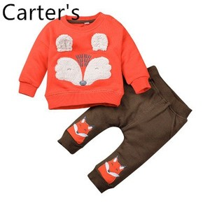 Carters Baby Girl Children's autumn round neck blouse suit baby cute cartoon two-piece long sleeve New Born Baby Clothes Set