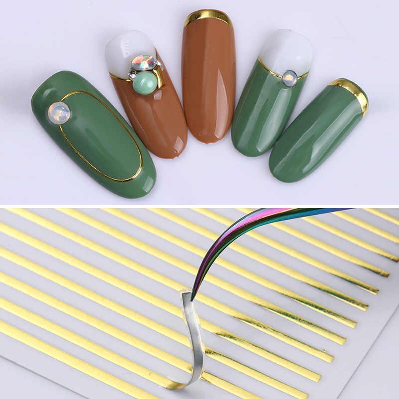 1 רול זהב 3D נייל מדבקת פס קווים ציפורניים מדבקות דבק קלטת לרצועות נייל ארט מדבקות מדבקות רוז זהב כסף