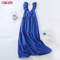 Tangada Women Blue Embroidery Romantic Midi Dress Strap Ruffles Sleeveless 2021 Fashion Lady Elegant Dresses Vestido 6H19 1