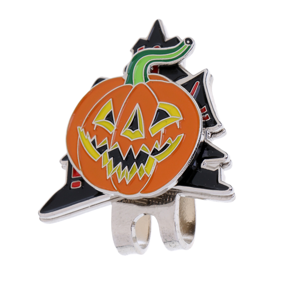 Sturdy Funny Halloween Pumpkin Magnetized Hat Cap Clip-on Golf Marker Golf Accessories