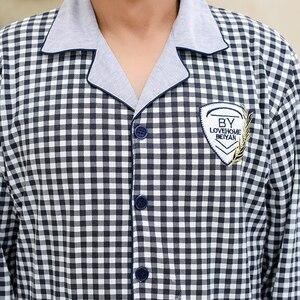 Image 5 - Pyjama Men Chinese Pajamas Button Cardigan Long Sleeve Nightwear Plaid Lapel Home Clothing 100% Cotton Plus Size 5xl Man Big Set