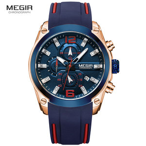Image 2 - Megir גברים של הכרונוגרף קוורץ שעונים יוקרה עמיד למים שעוני יד למעלה מותג צבאי ספורט שעון גברים Relogios Masculino 2063