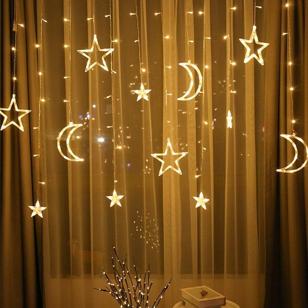 EU/US/UK Plug LED Moon Star Lamp Christmas Garland String Lights  Fairy Curtain Light For Wedding Holiday Garden Decoration
