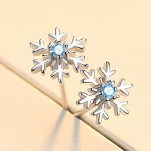 New Simple 925 Sterling Silver Snowflake Earrings For Women Blue/White Zircon Christmas Earrings Gift