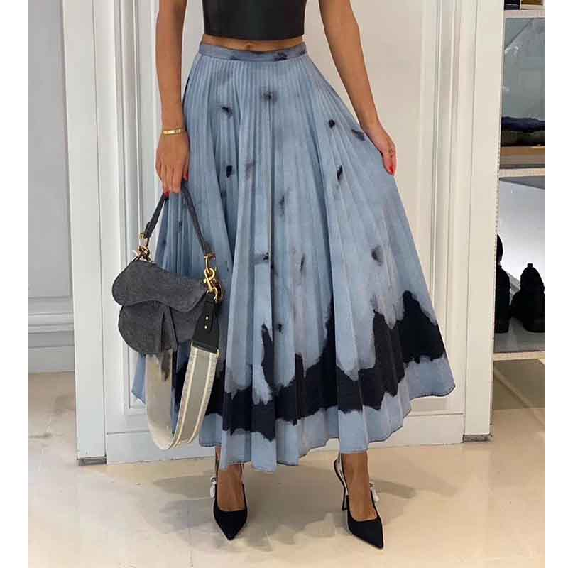 Cosmicchic 2020 SS Runway Designer Maxi Skirt High Waist Big Swing Elegant Retro A-Line Skirt Tie-Dye Print Pleated Long Skirts