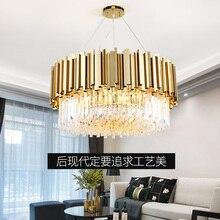 סלון יוקרה זהב מתכת Led תליון אורות העגול Luminarias מתכוונן תליית מנורת Led מקורה תאורת Lamparas מתקן