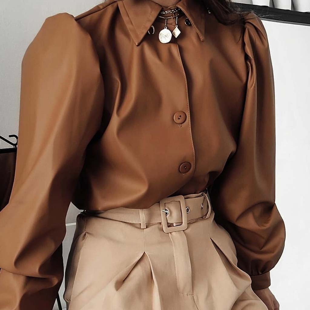 Brown Fashion Women Matte Faux Leather Notched Vintage Solid Button Sleeve Long Sleeve Shirt Tops S M L