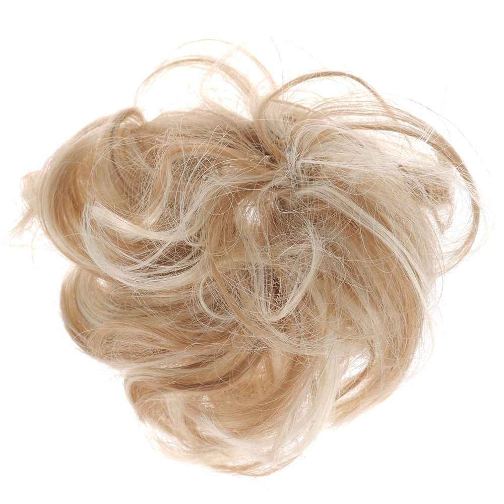 من السهل ارتداء توك شعر أنيق بشكل طبيعي فوضوي مجعد كعكة الشعر التمديد