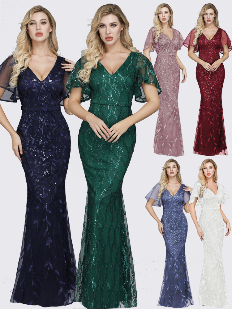 Evening-Dresses Largos Sequined Mermaid Vestidos Fiesta Party Sexy Long Sparkle V-Neck