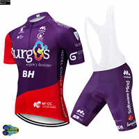 2019 Team Purple Burg Cycling Jersey 12D Gel Bike Shorts Suit MTB BH Ropa Ciclismo Mens Summer Short Bicycling Maillot Wear
