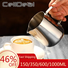 Celldeal aço inoxidável espumante jarro ofício café expresso barista latte cappuccino leite creme copo de espuma jarro