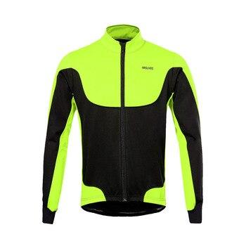 ARSUXEO Men's Winter Cycling Jacket Long Sleeve Windproof Thermal Fleece Warm Riding Bicycle Jackets MTB Bike Windbreaker