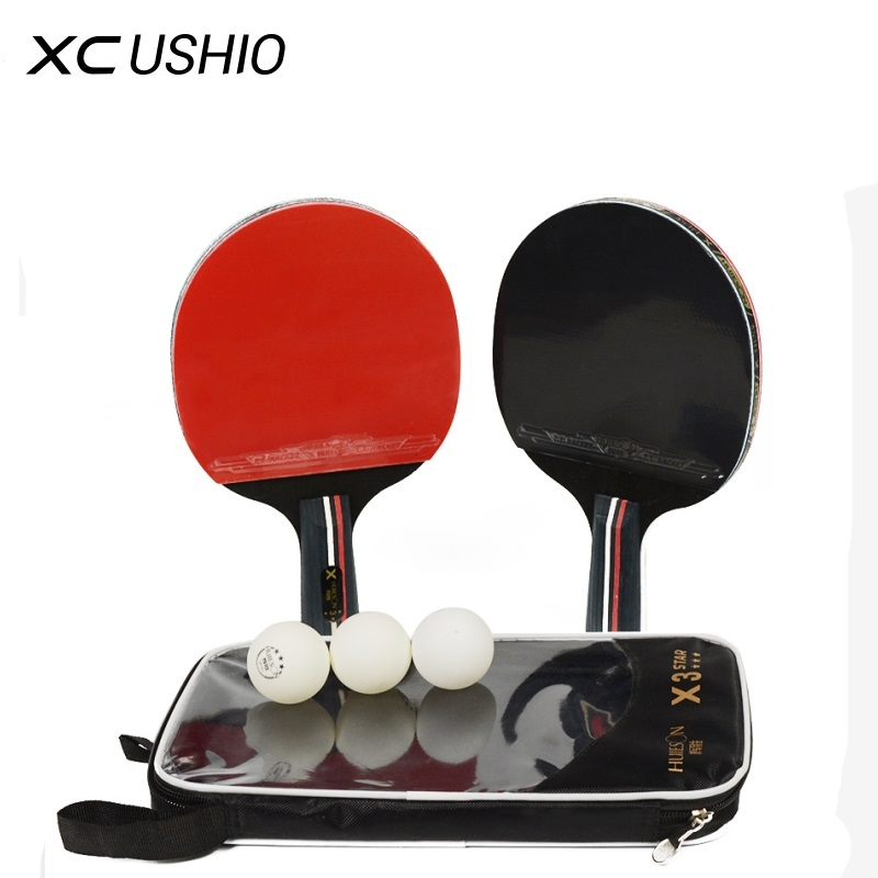 HUIESON 3 Star 2 Pcs Table Tennis Rackets Set 7 Ply Wood Blade Double Face Pimples-in Rubber For Children Teenagers New Learners