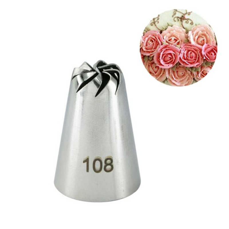 #108 Russische Drop Rose Icing Piping Nozzles Rvs Bloem Mond Cream Pastry Tips Nozzles Bag Cake Decorating Gereedschap
