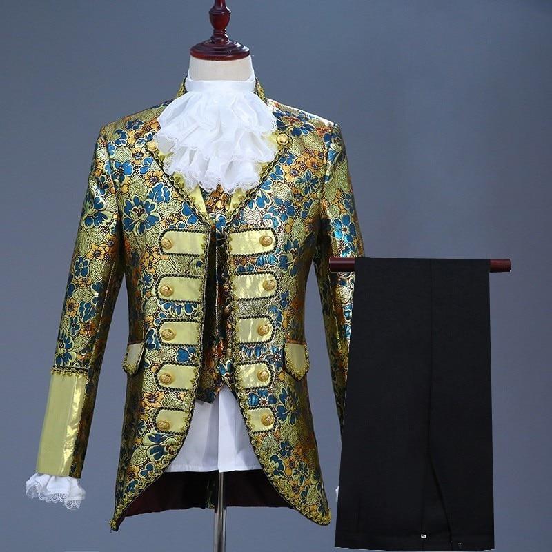 British Vintage Mens Prince Stage Play Costume Floral Embroidery Court Performance Blazer Suit Jacket Pants Vest Cosplay Set