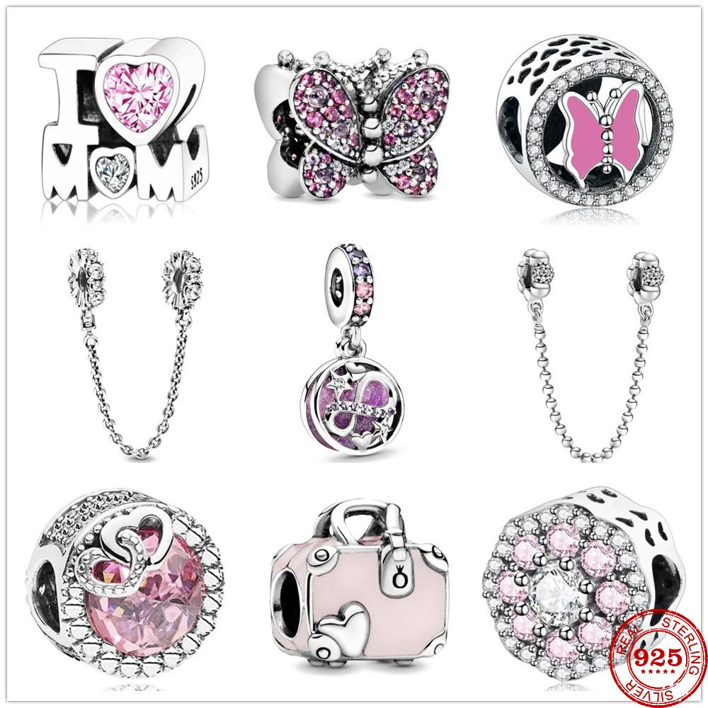 925 Sterling Silver Infinity Hearts & Stars Pendant DIY fine beads & Pavé Safety Chain Charm Fit Original Pandora Charm Bracelet(China)