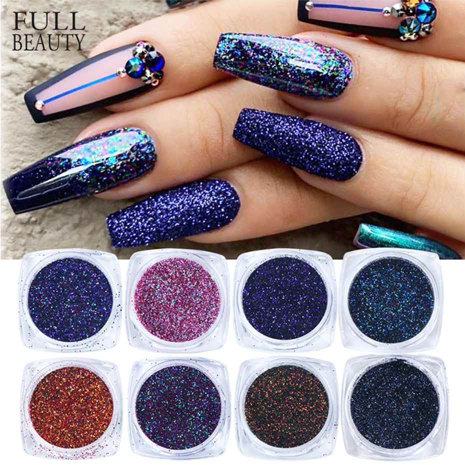 6pcs Chameleon Laser Nail Powder Set Shinning Sequins Pigments Holographic Nail Art Glitter Flakes Manicure Polish Tools CH1539