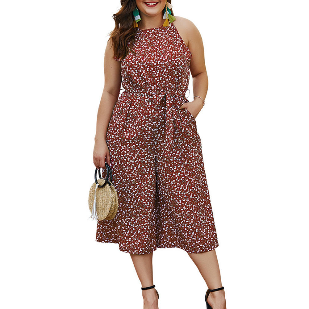 Droppshiping Women Polka-dot Jumpsuit Jumper Elegant Casual Loose Sling Rompers Summer Party J55