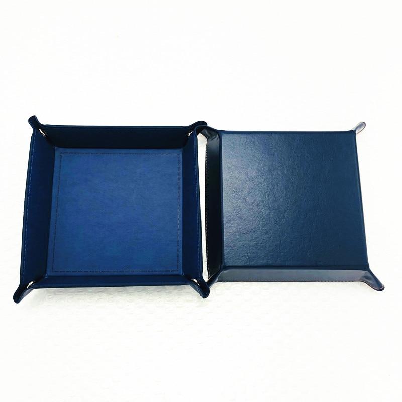 Складная коробка для хранения из искусственной кожи, квадратный поднос для настольной игры в кости, кошелек для ключей, коробка для монет, поднос, настольная коробка для хранения, лотки, Декор - Цвет: A-3