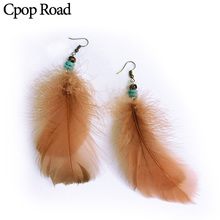 Cpop Vintage Boho Nature Feather Earring Ethnic Beads Zircon Chain Leather Tassel Fashion Jewelry Women Accessories Gift