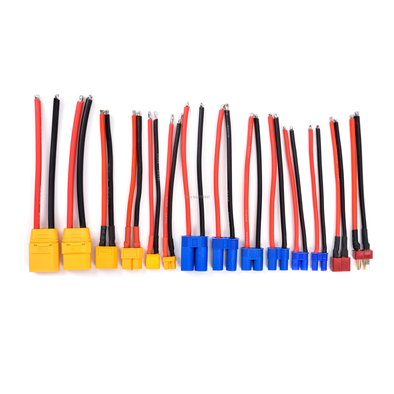 XT90 XT60 XT30 EC5 EC3 EC2 T разъем мужской/женский разъем силиконовый провод 12/14/16AWG RC кабель батареи 90 мм/100 мм