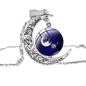 Image 2 - SONGDA Islamic Muslim Allah Culture Necklace Ancient Silver Color Crescent Moon Pendant Clavicle Chain Necklace for Ramadan Gift