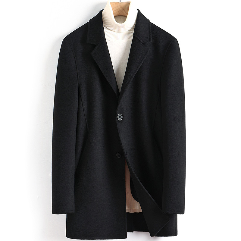 Wool Coat Men Casual Double-sided Korean Long Jacket Mens Coats And Jackets Overcoat Abrigo Hombre 2020 4887 KJ3621