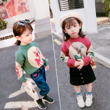 Girl'S Sweater Deer Cartoon Sweater Tops 19 Fall And Winter Clothes New Style Childrenswear 3-8-Year-Old(China)