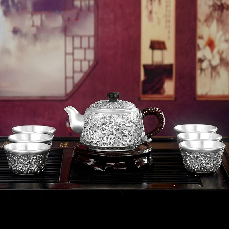 Silver Teapot S999 Foot Silver Tea Set Practical Kung Fu Tea Cup Sterling Silver Tea Set Gift