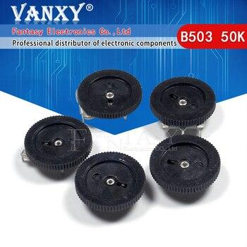 10 Uds de ajuste potenciómetro B503 50K 3pin 16*2mm potenciómetro de esfera