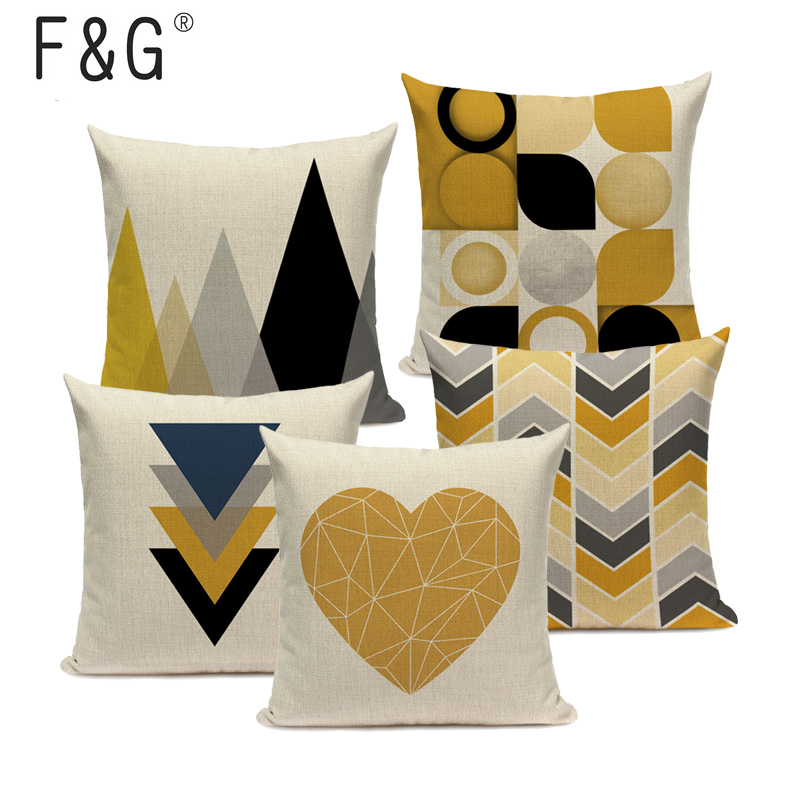 Yellow Geometric Cushion Cover Nordic Round Triangle Pillowcase Deer Heart Throw Pillow Car Office Bed Room Cushions Gift