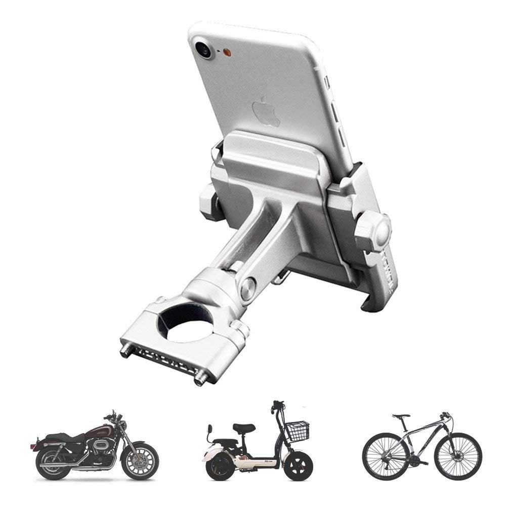Aileap PH-03 Aluminum Motorcycle Phone Mount Adjustable Anti Shake Metal Bike Phone Holder For Devices Up To 3.7