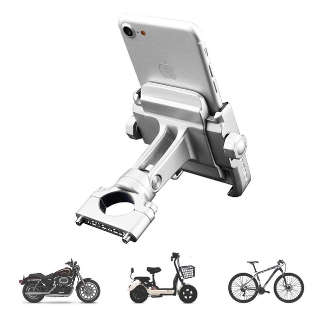 """Aileap PH 03 Aluminum Motorcycle Phone Mount Adjustable Anti Shake Metal Bike Phone Holder for Devices up to 3.7"""" Width (Chrome)"""