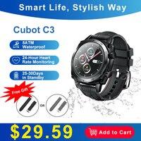Cubot C3 Smartwatch 1.3 Zoll Touch-Farbdisplay Fitness Armband Tracker mit Pulsuhr 5ATM Wasserdicht Outdoor Sportuhr für iOS Android Schrittzähler für Damen und Herren Herzfrequenzüberwachung Musik Wiedergabe