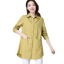 Autumn New Solid Color Womens Plus Size Shirt Fashion Trend Single Breasted Long Sleeve Blouse X
