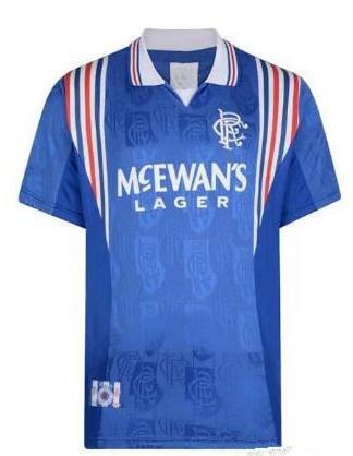 Top Retro 96 97 Glasgow Rangers Camisa De Futebol Casual Shirts GASCOIGNE LAUDRUP Blue Home 1996 1997 Classic Futbol Camisa