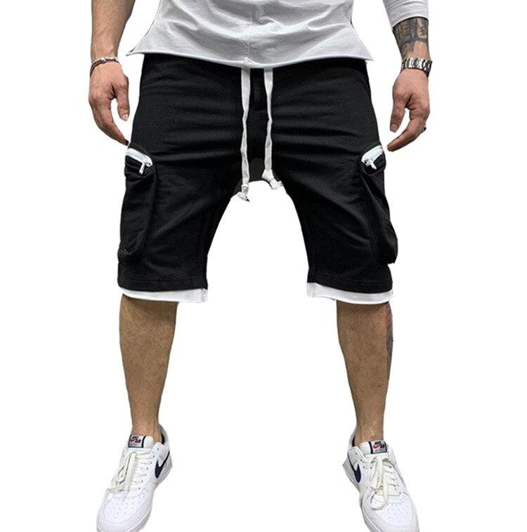 Novo verão calções de ginásio para homem com bolsos múltiplos esporte casual hip hop calças de carga por cinco minutos