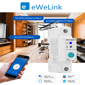 Image 3 - eWelink 1P 18mm WiFi remote control circuit breakerSmart din rail switch compatiable with Alexa and google home for Smart Home