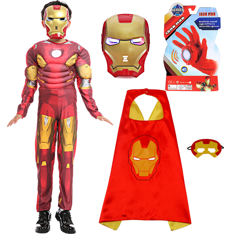Halloween Clothing COS Anime Just Iron Man Mask Mantle Light-up Gloves Children Muscle Suit Iron Man Clothes