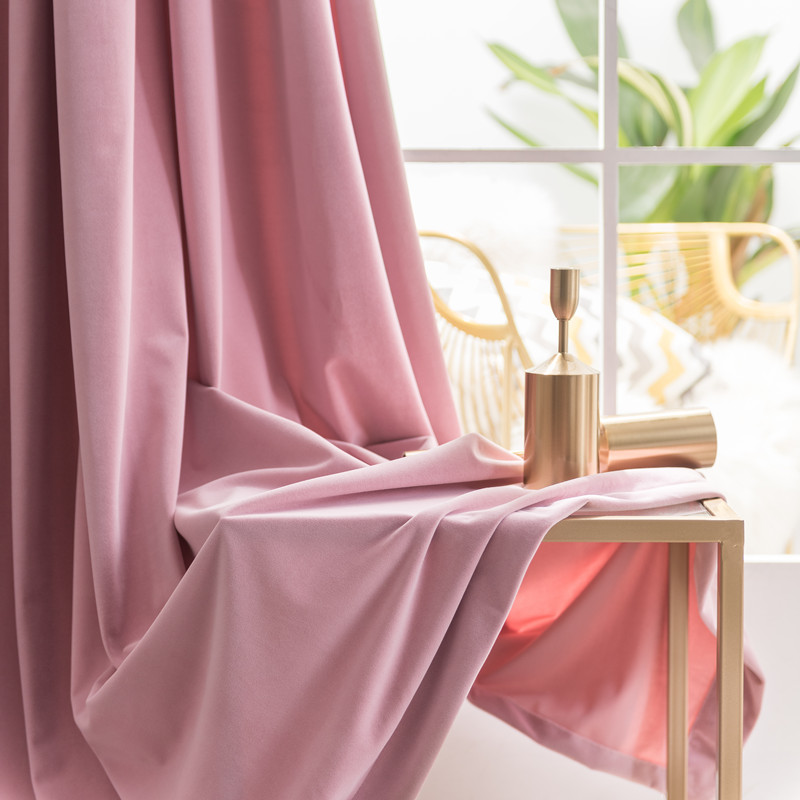 Nordic Luxury Velvet Curtain Light Pink Window Curtain Solid Color Semi Shade Curtains for Bedroom and Living Room