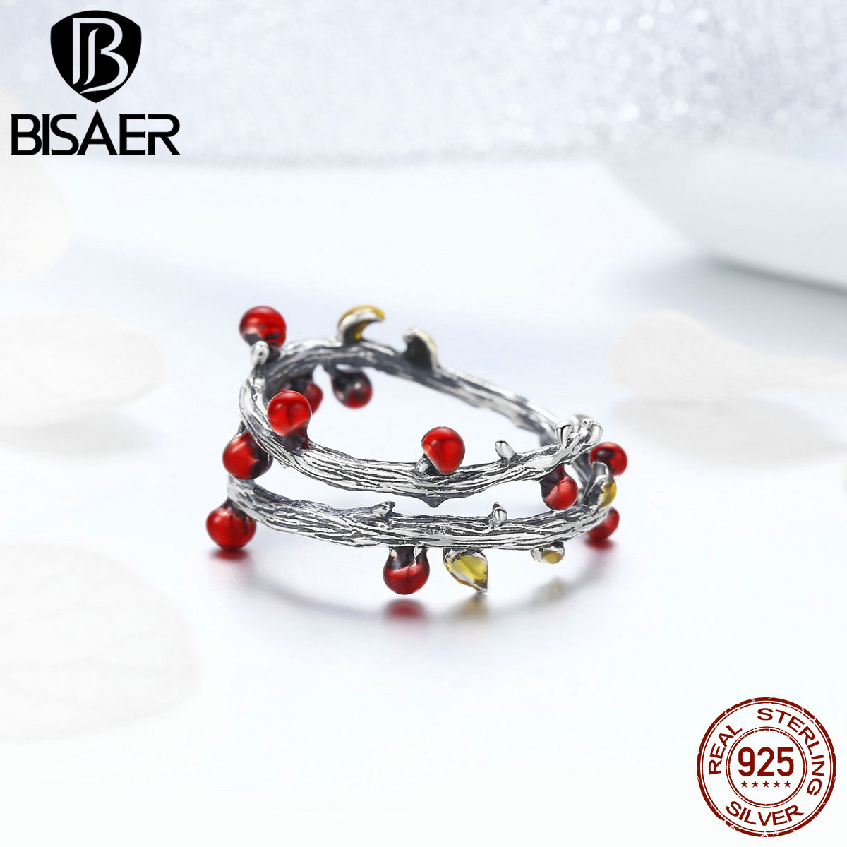 BISAER NEW Rings 925 Sterling Silver Vintage Red Berry Fruit Double Layers Open Finger Rings for Women Fashion Jewelry GXR442