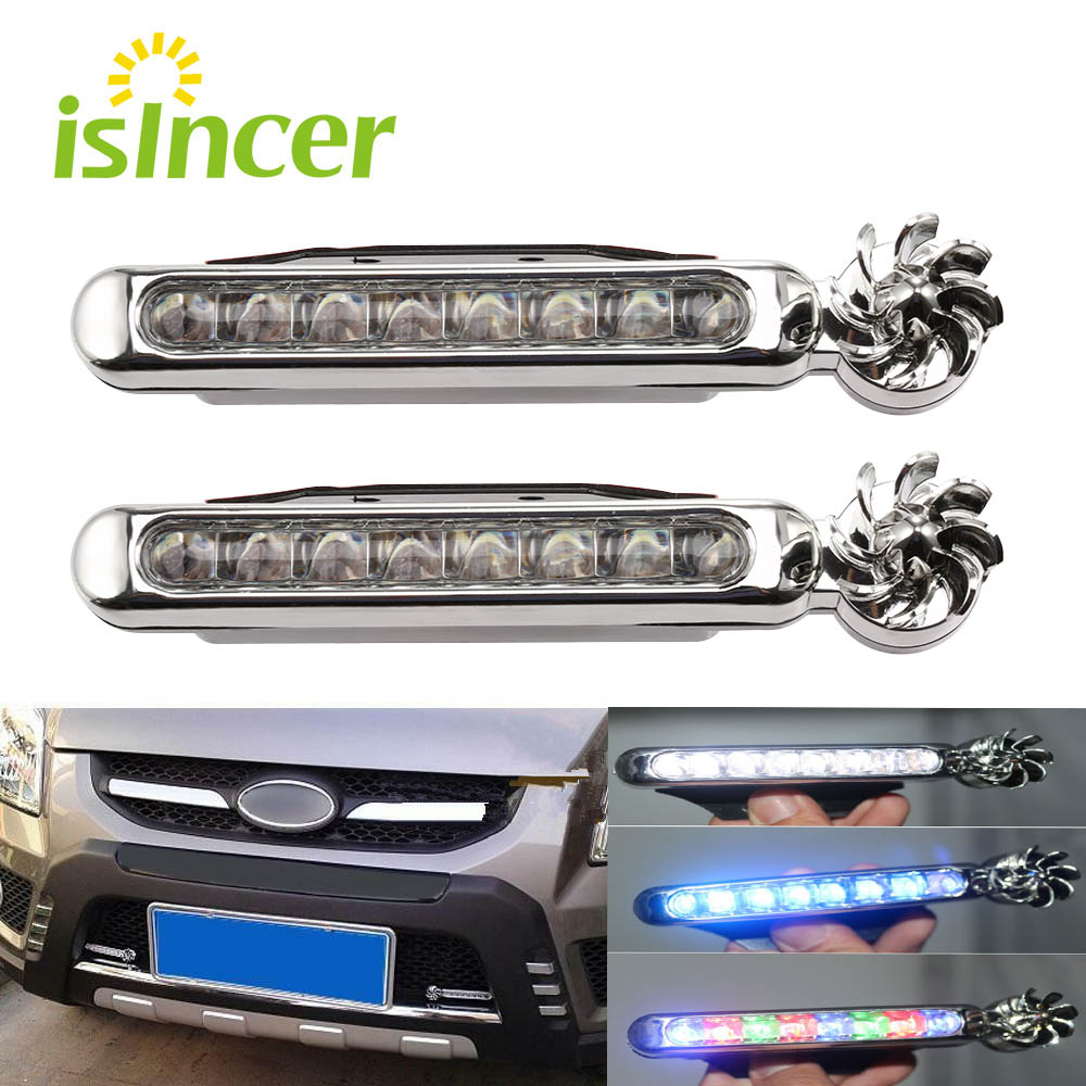 2Pcs Car Light Wind Energy No Need External Power Supply Car Daytime Running Lights 8 LED DRL Daylight Headlight Lamp