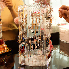 Earring Jewelry Storage Box Display Rack Rotating Large-capacity Transparent Acrylic Hanging Earring Necklace Cosmetic Organizer