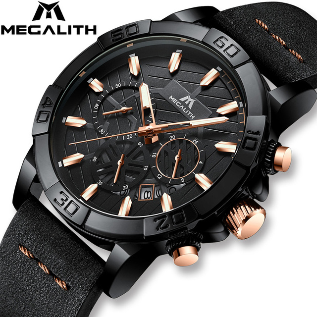 reloj hombre watches MEGALITH sport chronograph waterproof watch men top brand luxury luminous watch men leather horloges mannen