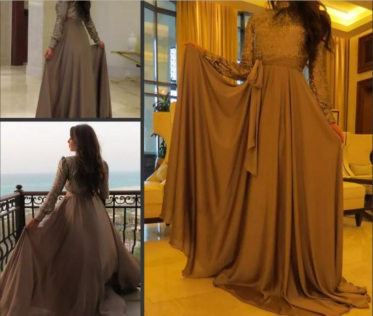 2018 Muslim Women High Neck Sequined Dubai Arabic Long Evening Party Prom Gown With Long Sleeves Mother Of The Bride Dresses