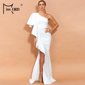 Missord 2020 женское сексуальное платье с нерегулярным вырезом, с открытыми плечами, без рукавов, с высоким разрезом, с оборками, однотонное, макс...